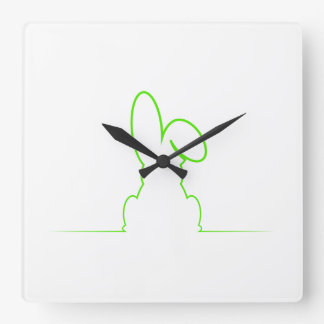 Contour of a hare light green clock