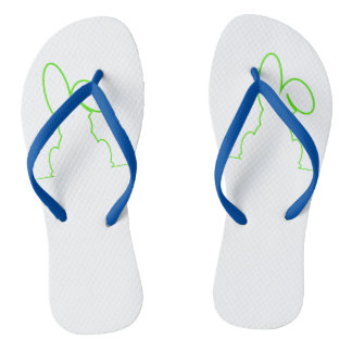 Contour of a hare light green flip flops