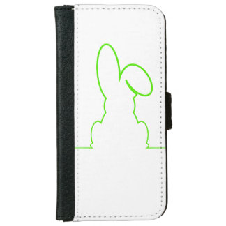 Contour of a hare light green iPhone 6 wallet case