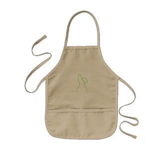 Contour of a hare light green kids apron