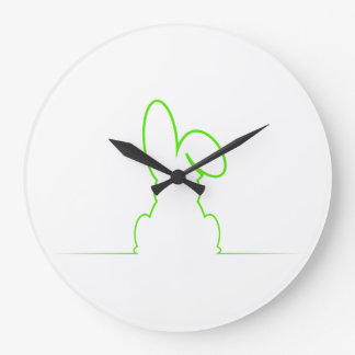 Contour of a hare light green large clock