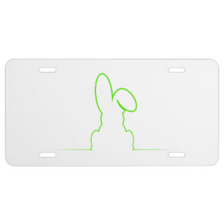Contour of a hare light green license plate