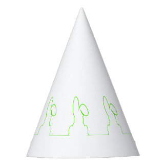 Contour of a hare light green party hat