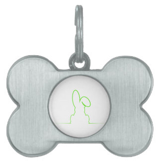 Contour of a hare light green pet name tag