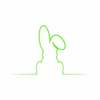 Contour of a hare light green photo sculpture button