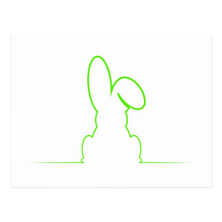 Contour of a hare light green postcard