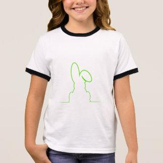 Contour of a hare light green ringer T-Shirt