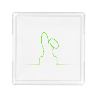 Contour of a hare light green serving tray