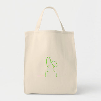 Contour of a hare light green tote bag