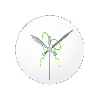 Contour of a hare light green wall clocks