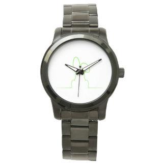 Contour of a hare light green watch