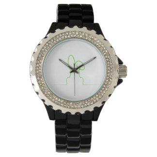 Contour of a hare light green watch