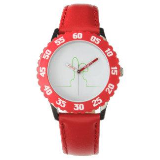 Contour of a hare light green wrist watch