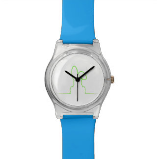 Contour of a hare light green wristwatch