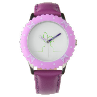 Contour of a hare light green wristwatch