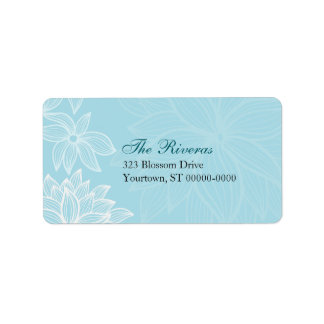 Contoured Bloom Sapphire Wedding Address Label