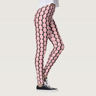 Contoured rose pink polka dots on black leggings