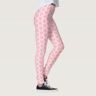 Contoured rose pink polka dots on light pink leggings