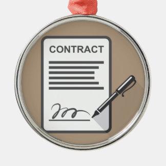 Contract Icon Silver-Colored Round Ornament