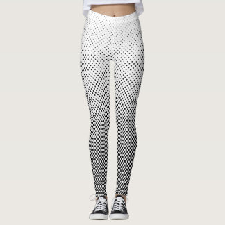 Contrast Halftone Dots Black and White Slimming Leggings
