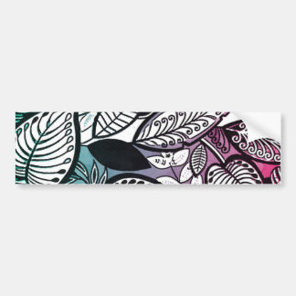 Contrast Sketch Tropical Floral Pink Turquoise Bumper Sticker