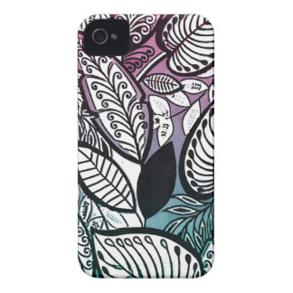Contrast Sketch Tropical Floral Pink Turquoise Case-Mate iPhone 4 Cases