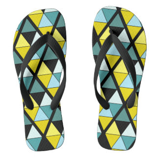 Contrast Triangles On Black Flip Flops