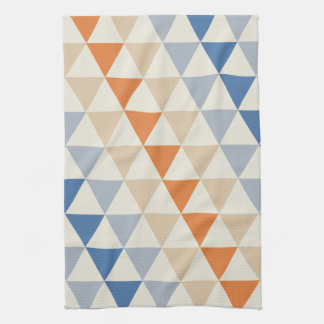 Contrasting Blue Orange And White Triangle Pattern Kitchen Towel