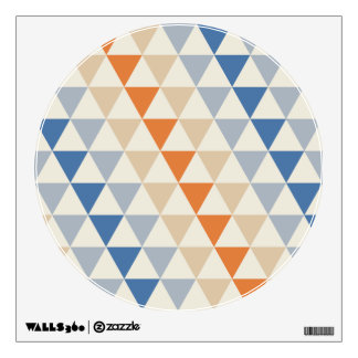 Contrasting Blue Orange And White Triangle Pattern Wall Decal