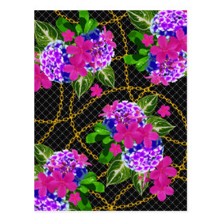 Contrasting Pink and Purple Floral & Chain Print Postcard