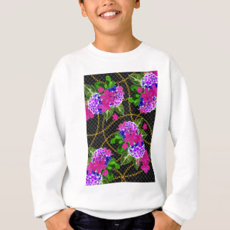 Contrasting Pink and Purple Floral & Chain Print Sweatshirt