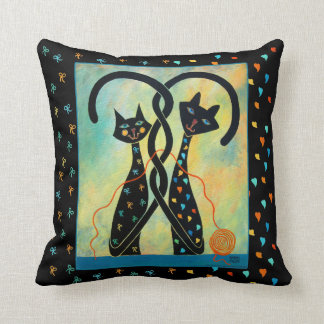 """Controlled Chaos Black Cats Throw Pillow 16"""" x 16"""""""