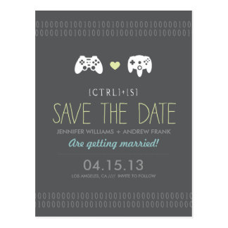 Controller Love Save the Date Postcard
