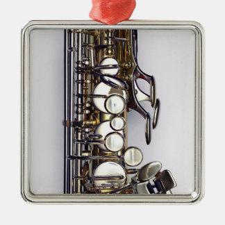Controls of Saxophone Silver-Colored Square Ornament