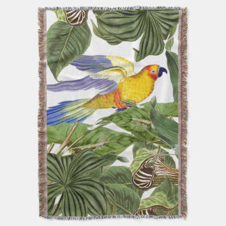 Conure Parrot Bird Wildlife Leaves Throw Blanket