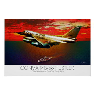 Convair B-58 Hustler Supersonic Jet Flying @ Dusk Poster