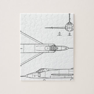 Convair_YF-102_Delta_Dagger_3-view Jigsaw Puzzle