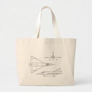 Convair_YF-102_Delta_Dagger_3-view Large Tote Bag