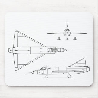 Convair_YF-102_Delta_Dagger_3-view Mouse Pad