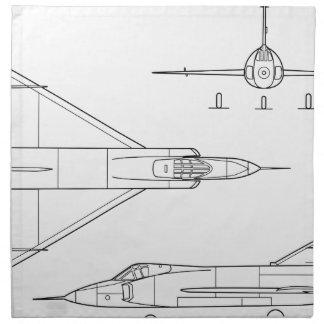 Convair_YF-102_Delta_Dagger_3-view Napkin
