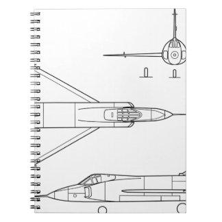 Convair_YF-102_Delta_Dagger_3-view Notebook
