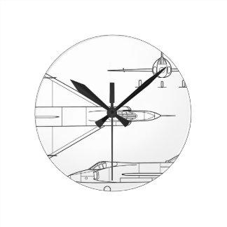 Convair_YF-102_Delta_Dagger_3-view Round Clock