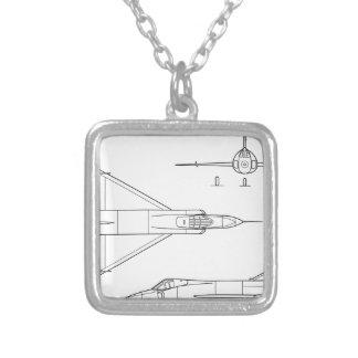 Convair_YF-102_Delta_Dagger_3-view Silver Plated Necklace