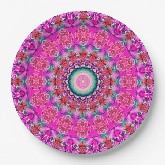 Convenient Pink Mandala Art Kaleidoscope 9 Inch Paper Plate