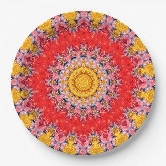 Convenient Red & Yellow Mandala Art Kaleidoscope Paper Plate
