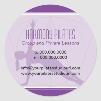 Convergent Lines Purple Pilates Classic Round Sticker
