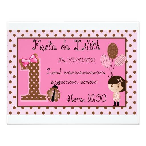 """Convite Marrom e Rosa 4.25"""" X 5.5"""" Invitation Card"""