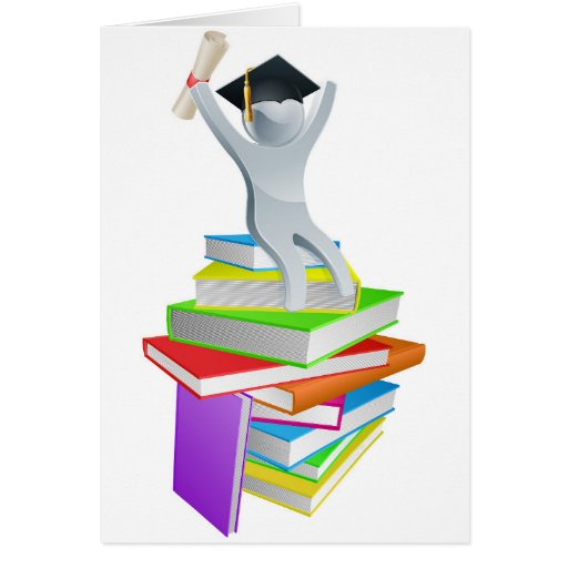 Convocation man on books greeting cards