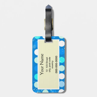Coo big blue, white, light blue polka dots luggage tag