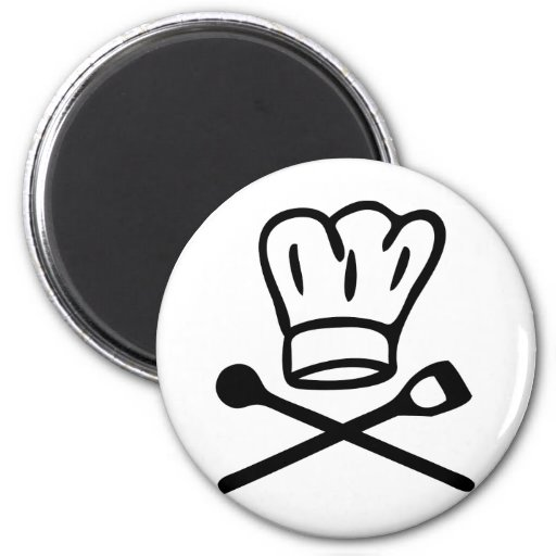 cook chef hat with wooden spoon icon refrigerator magnet